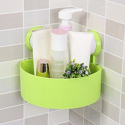 Binmer(TM) Suction Cup Bathroom Kitchen Corner Storage Rack Organizer Plastic Shower Shelf (Green)
