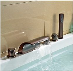 Gowe Oil Rubbed Bronze Waterfall Widespread Bathtub Mixer Tap Faucet with Hand Sprayer
