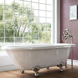 Luxury 54 inch Small Vintage Clawfoot Tub in White, Includes Brushed Nickel Ball and Claw Feet a ...