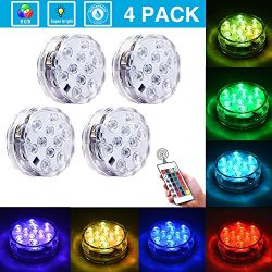 Submersible LED Lights [4 Pack] Waterproof light Multi Color Battery Operated Remote Control Wir ...