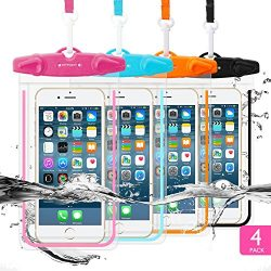 4 Pack Universal Waterproof Case FITFORT Cell Phone Dry Bag/Pouch for iPhone X 8 7 6 6S Plus Gal ...