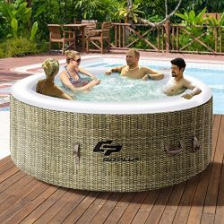 Goplus 4 Person Inflatable Hot Tub Outdoor Jets Portable Heated Bubble Massage Spa Set w/Filter  ...