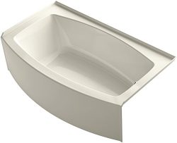 KOHLER K-1118-RA-47 Expanse 60″ x 30″ To 36″ Curved Alcove Bath with Integral  ...