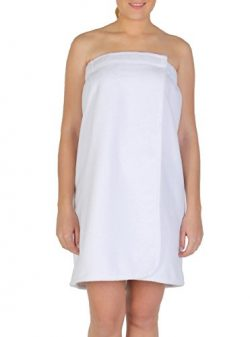 Arus Women's Organic Turkish Cotton Adjustable Closure Spa Shower and Bath Wrap L/XL Ice White