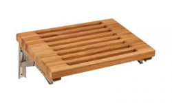 Burmese Teak Wall Mounted Fold Down Bench with Slots | 18″ x 13″ | Stainless Steel W ...