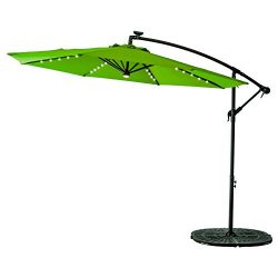 FLAME&SHADE 10 foot LED Light Outdoor Offset Cantilever Umbrella, Hanging Patio Umbrella wit ...