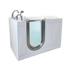 Ella HM3117-HB Royal Acrylic Hydro Massage+Microbubble Therapy Walk-in Bathtub, 32″ x 52&# ...