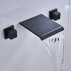 Rozin Wall Mounted 3 Holes Bathtub Faucet 2 Knobs Waterfall Mixer Tap ORB Finish