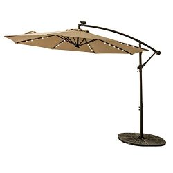 FLAME&SHADE 10ft Solar Power LED Offset Cantilever Patio Umbrella, Hanging Outdoor Umbrella  ...