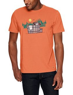 Life is Good Mens crusher tee outdoor Hottub, Sandy Orange, X-Large