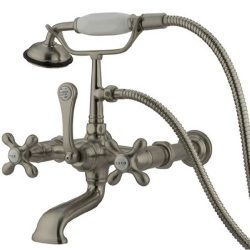 Kingston Brass CC547T8 Vintage 7-Inch Spread Wall Mount Leg Tub Filler with Hand Shower, Satin N ...