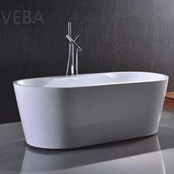 VEBA 59 inch Freestanding Tub, Small Free Standing Acrylic Bathtub with Overflow, Center Drain a ...