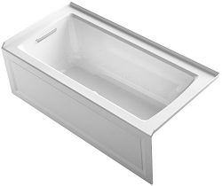 KOHLER K-1947-GLA-0 Archer 60″ x 30″ Alcove Bubble Massage Air Bath with Integral Ap ...