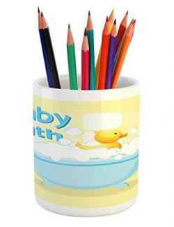 Lunarable Duckies Pencil Pen Holder, Rubber Duckling Swims in Freestanding Bathtub Filled with B ...