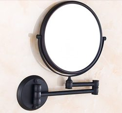 Rozin Wall Mounted 8-inch Round Make up Mirror Oil Rubbed Bronze Dual Sided