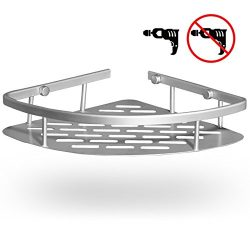 GUNMIN Adhesive Bathroom Shower Shelf (Drilling Or No Drilling) Durable Aluminum Bathtub Corner  ...