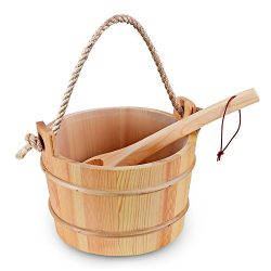 Bestnewie Sauna Bucket with Plastic Liner and Ladle – Handmade Wooden Sauna Bucket Sauna & ...