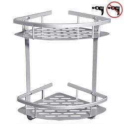 GUNMIN Adhesive Bathroom Shower Shelves (Drilling Or Drill Free) Durable Aluminum 2-Tier Bathtub ...