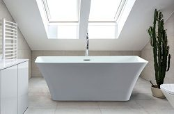 Adele 59 inch Acrylic Freestanding Bathtub | Soaking Shower Rectangle Tub