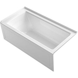 KOHLER K-1947-GRA-0 Archer 60″ x 30″ Alcove Bubble Massage Air Bath with Integral Ap ...