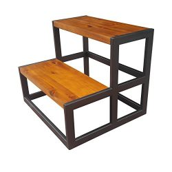 Design 59 inc Acacia Hardwood Step Stool / Bed Steps / Plant Stand, NO ASSEMBLY REQUIRED