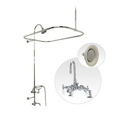 Randolph Morris Rim Mount Clawfoot Tub Shower Enclosure with Gooseneck Faucet