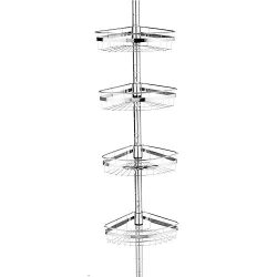 Sweet Home Collection Corner Pole Bathtub Adjustable Shower Caddy, Chrome