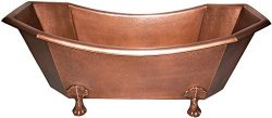Solid Hammered Copper Bathtub Soaking 70 Inch 8-Sided Clawfoot Antique Copper Patina Slipper Tub