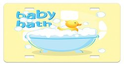 Duckies License Plate by Lunarable, Rubber Duckling Swims in Freestanding Bathtub Filled with Bu ...