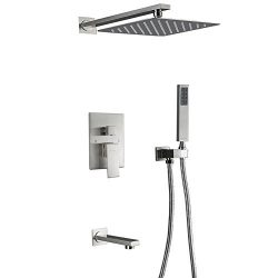 Esnbia Rain Shower System with Tub Spout and 10″ Rain Shower Head Wall Mounted Shower Fauc ...