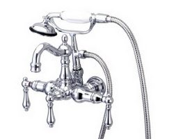 Kingston Brass CC1008T1 Heritage 3-3/8-Inch Wall-Mount Vintage Leg Tub Filler with Hand Shower,  ...