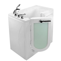 Ella Mobile U-Shape Acrylic Air Massage Walk-In Bathtub with Left Outward Swing Door, Thermostat ...