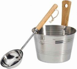 EOS Sauna Accessory Set Bucket and Ladle Stainless Steel by Dr Kern