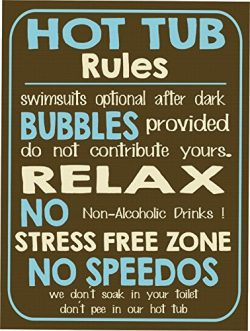 TNS STORE Vintage retro style funny HOT TUB RULES metal sign Metal wall door Sign