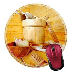 Liili Round Mouse Pad Natural Rubber Mousepad IMAGE ID: 18108544 Still life with sauna accessori ...