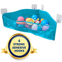 Bath Toy Organizer – NEW 4 Strong Adhesive Hooks – Bathtub Toys Holder Storage Net & ...