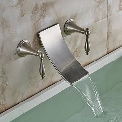 Rozin Wall Mounted 2 Handles Widespread Bathtub Faucet Brushed Nickel