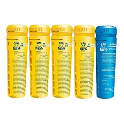 SPA FROG 5 pack replacement cartridges, 4 bromine/1 mineral, Bundled with Floating Buoy Üben Poo ...