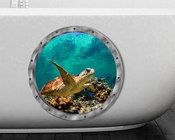 BIBITIME 11″ x 11″ Fake Round Window 3D Sea Turtle Wall Decal for Bathroom Glass Doo ...