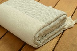 SALE %50 High Quality Diamond Design Turkish Cotton Bath and Beach Towel – Beige – S ...
