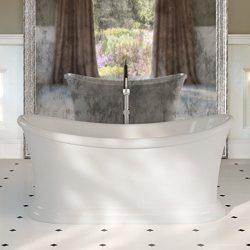 MAYKKE Ida 67″ Traditional Oval Acrylic Bathtub | Freestanding White Bath Tub for Bathroom ...
