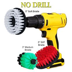 HIFROM 3″ 5″ Drill Brush Soft Medium Stiff Bristle Scrub Attachments Cleaning Kit fo ...