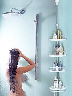 Bathroom Constant Tension Corner Shower Caddy Pole, Commercial Grade Rustproof Bathroom Corner R ...