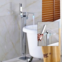 Senlesen Barthroom Tub Filler Faucet Floor Mounted Bathtub Shower Faucet LED Spout Free Standing ...