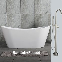 WOODBRIDGE B0011+ F-0001 59″ Acrylic Freestanding Bathtub Contemporary Soaking Tub B-0011  ...