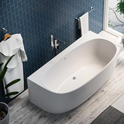 MAYKKE 68″ Ocala Acrylic Freestanding Alcove Wall Tub | Modern Uniquely Shaped Bath Tub So ...