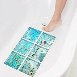 GWELL Creative 3D Self Adhesive Bathtub Stickers Waterproof Safety Appliques DIY Wall Floor Deca ...