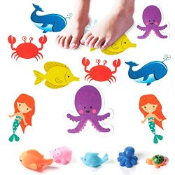 Bathtub Stickers by Pack of 10 Large Sea Creature Decal Treads Best Adhesive Safety Anti-Slip Ap ...