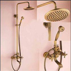 Gowe Modern Antique Brass Rainfall Shower Faucet Bathtub Shower Mixer Dual Handle Tap