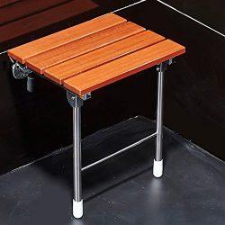 JCWANGDEFU Folding Shower Seat Wall Mounted Bathroom Bathtub Safety Stool Chair, Solid Wood, wit ...